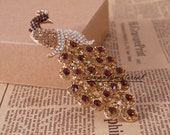 Fashion Brown Crystal Peacock Jewelry Accessories