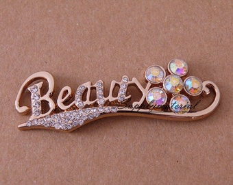 1PCS Bling Crystal beauty Letters flatback Alloy jewelry For Phone case deco