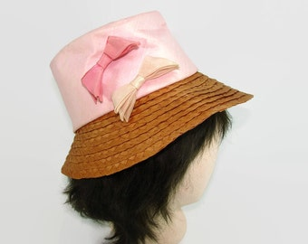 Vintage Pink Cloth Hat with Bows and Braided Straw, Wide Brim Tan and Pink Summer Hat