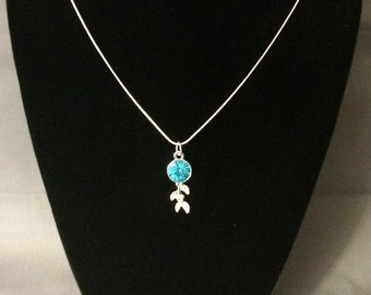 Aqua Blue Rhinestone Pendant with Silver Chain