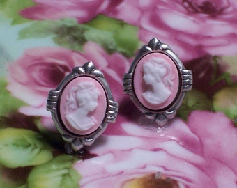 Pink with White Profile Cameo Post Earrings, Pink Cameo Stud Earrings