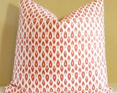 Orange Ginger pillow small ikat print pillow cover 20x20 Fabric both sides