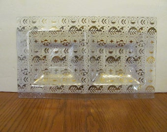 Georges Briard Forbidden Fruit Double Bowl Gold Glass Tray