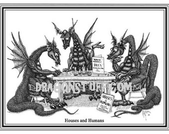 "Dungeons and Dragons, Dragons playing a game called ""Houses and Humans"", Role playing Dragons."