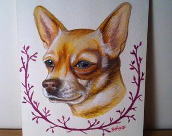Custom pet portrait- watercolour, A5