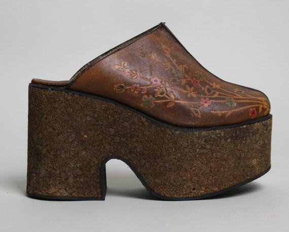 70s cork leather platform shoes vintage 1970s boho floral