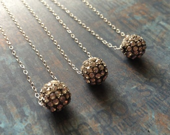 Crystal Rhinestone Disco Ball Necklace