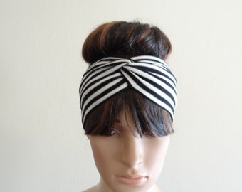White And Black Stripe Headband. Stripe Head Wrap