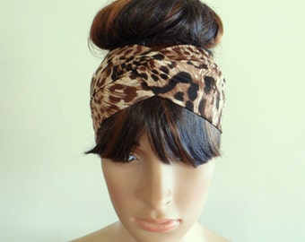 Printed Headband. Leopard Head Wrap