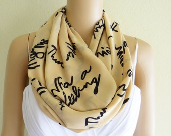 Tan And Black Pattern Scarf. Printed Infinity Scarf. Printed Circle Scarf. Soft Chiffon Loop Scarf.