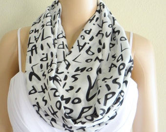 Words Print Scarf. White And Black Pattern Scarf. Printed Infinity Scarf. Printed Circle Scarf. Soft Chiffon Loop Scarf.