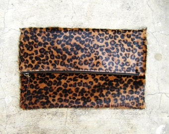 Limited Edition Leopard Print Calf Hair Fold Over Zipper Pouch Leather Clutch