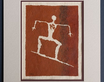Surfer - Hawaiian Petroglyph Design  on Tapa Cloth - Matted and READY TO FRAME