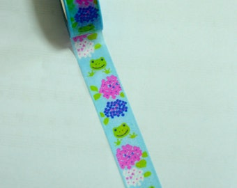 1 Roll of Japanese Washi Masking Tape: Frog and Flowers