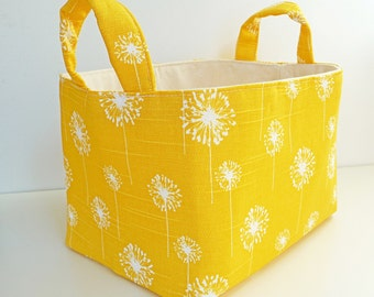 Storage Basket Fabric Organizer in Yellow and White Dandelion - Gift Basket - Hostess Gift