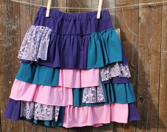 Girls Ruffle Skirt Upcycled Size 9 - 10