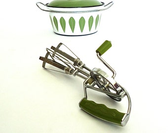 Mid Century Avocado Green Handle Egg Beater Made in Japan