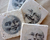 Moon Coasters- Whimsical decor, Man in the Moon, Moon Decor, Moon Gift, Moon Coaster Set, Moon Tile, Moon Home Gift, Stone Coasters