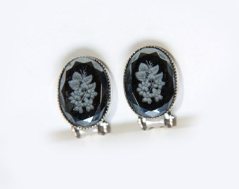 Vintage Black Onyx Earrings, Carved Roses Clip Earrings, Gift for Her