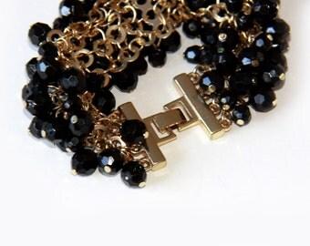 Vintage Black and Gold Bracelet - Black Bead Bracelet - Faceted Black Beads on Gold Tone Mesh - Retro