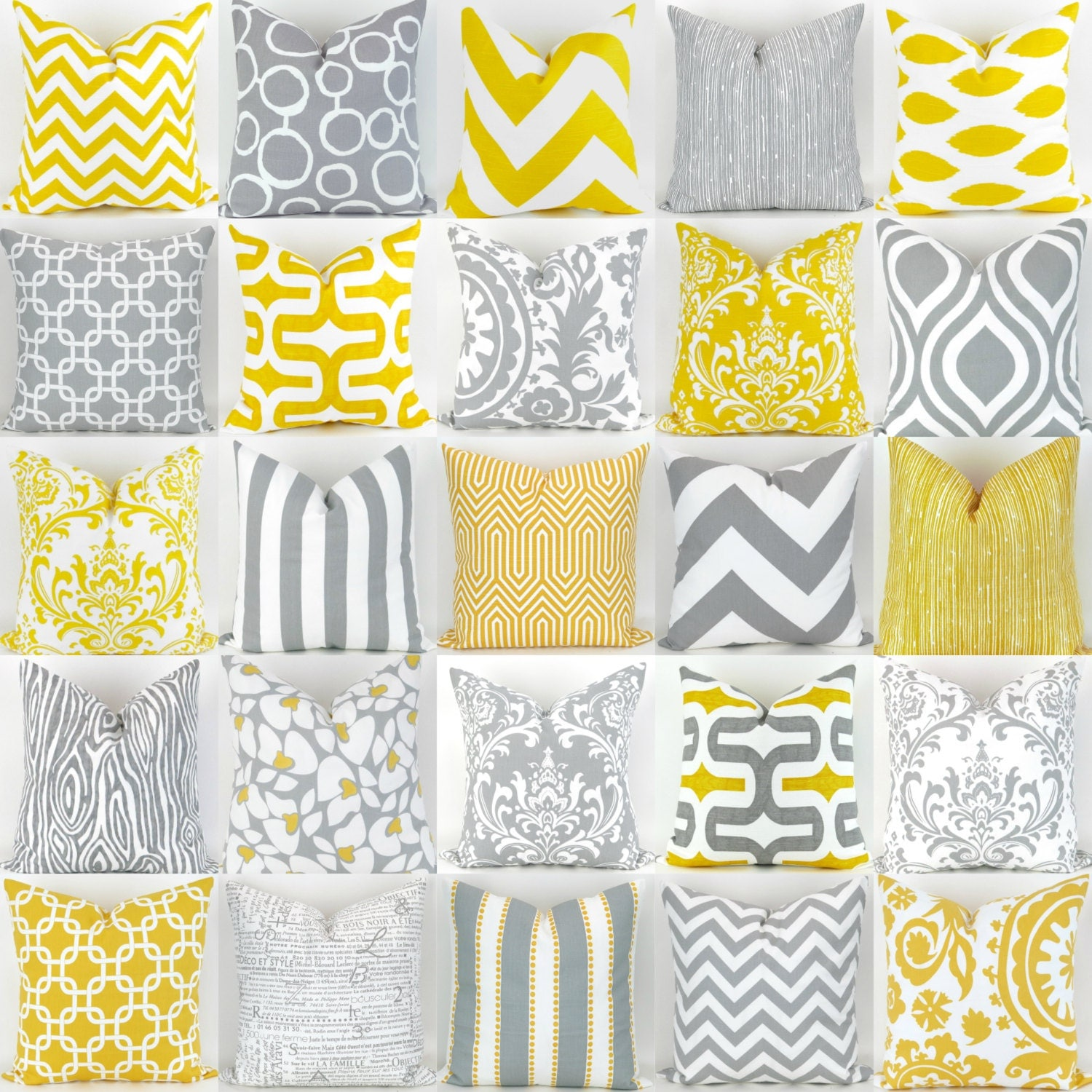 Yellow & Gray Pillow Covers 18x18 inch Mix/Match patterns
