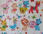 Vintage Juvenile or Baby All-Occasion Gift Wrap - Wrapping Paper - Adorable ANIMALS - 1950s