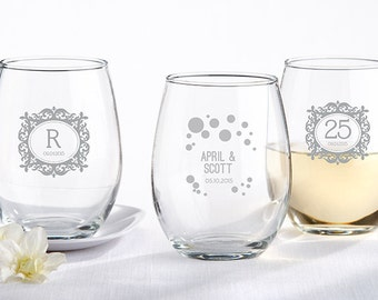 36 Stemless Wine Glass 15 oz - Bulk Jars, Personalized Glassware, Wedding Favors, Etched Glassware
