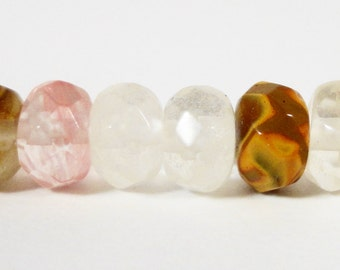 Watermelon Tourmaline Quartz Gemstone Beads 6x4mm (4x6mm) Faceted Rondelle Multicolor Stone Beads on a 7 1/4 Inch Strand with 45 Beads