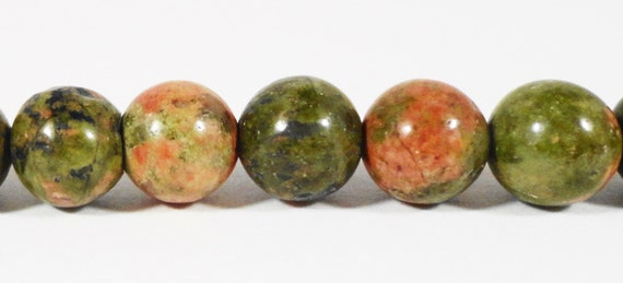 Unakite Gemstone Beads 6mm Round Natural Green Stone Beads for Jewelry Making on a 7 1/4 Inch Strand with 28 Beads