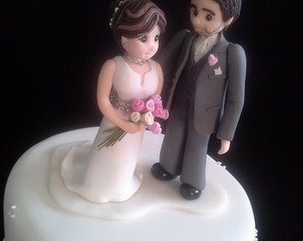 Individually hand made personalised Bride & Groom cake toppers