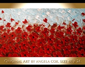 Original Modern Red Poppies Flowers   Contemporary  Impasto Palette Knife  Landscape   Painting.. Size 48 x 24.