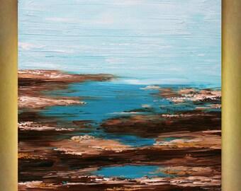 Original Abstract  Seascape Aqua    Heavy Impasto  Palette Knife  Modern Art  Painting . Size 40 x 30.
