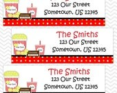 Movie Night - Personalized Address labels, Stickers, Baby Shower, Birthday