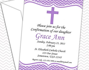 Cross Purple Invitation PRINTABLE - Baptism Christening First Holy Communion