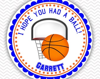 Basketball - Personalized Stickers, Party Favor Tags, Thank You Tags, Gift Tags, Address labels, Birthday, Baby Shower