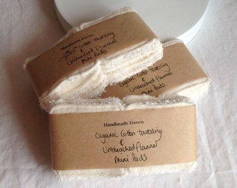 Mini Cleansing Pads - 5 cm x 5 cm - Make-up Remover Pads - Organic Cotton Terry Towelling - Organic Flannel - Washable