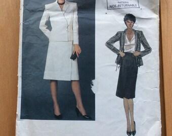 Vintage Vogue Valentino Pattern, Vogue 2622, Designer Suit Pattern, Size 12, 1980s