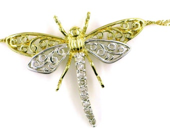 Vintage 10K White and Yellow Dragonfly Pendant with Attached 10k Gold Chain