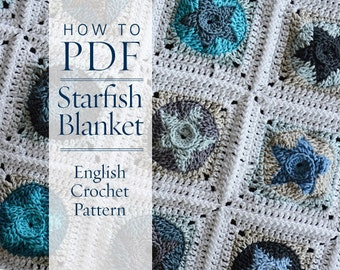 Crochet Pattern StarFish Blanket Square Joining and Framing pattern - ready for immediate download - by CrochetObjet