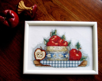 Red Apples Cross Stitch /  Basket of Apples / Apple Collection Picture / Apple Kitchen Decor / Hand Stitched Red Apple / Framed Under Glass