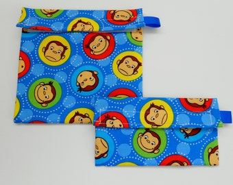 Curious George Reusable Snack and Sandwich bag set
