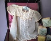 Vintage Christening Dress Embroidered Floral Lace  Sheer Display Photo Prop