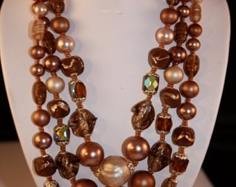Vintage necklace brown and pearl tone beads -Japan