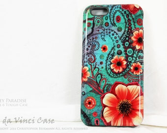 Paisley iPhone 6s Case - Floral Case for iPhone 6 - Paisley Paradise - Teal Green and Orange Artistic iPhone 6 Case with Dual Layers