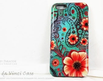 Paisley iPhone 6 6s Case - Floral Case for iPhone 6S - Paisley Paradise - Teal Green and Orange Artistic iPhone 6S Case with Dual Layers