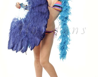 """Navy  single layer Ostrich Feather Fan Burlesque Dance costume 25""""x45"""""""