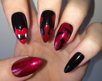 Vampire & Bat Red and Black Glue on Fake Nails - Stiletto, Coffin, Oval, Square