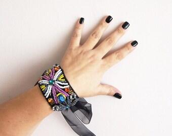 BRACELET Romantic bracelet, Vintage style bracelet, Freeform peyote bracelet Artisan Jewelry, unique gifts for her