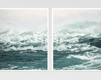 Wall art set of 2 prints, sea photography, ocean art posters, large wall art, teal bathroom decor, sea waves,nautical landscape, 11x14,16x20