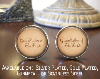 Grandfather of the Bride Cufflinks or Grandfather of the Groom Cufflinks - Personalized Cuff Links